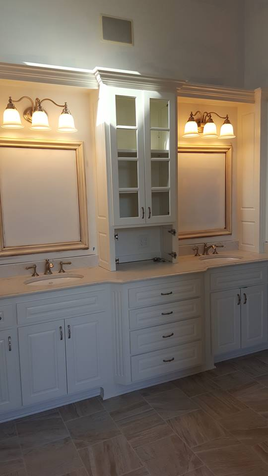 Saints Painting raw bath cabinetry finish